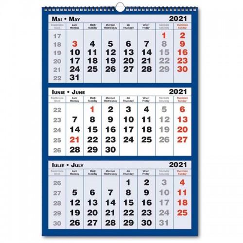 Calendar triptic 2021, 3 culori, 33x48 cm