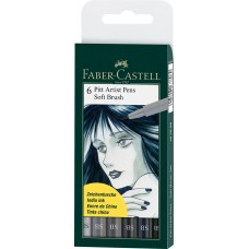 Pitt Artist Pen Soft Brush set 6 Buc. Faber-Castell
